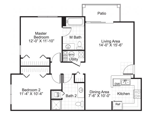 2 bedroom 2 bathroom B2 floor plan at Ardenne Apartments in Lafayette, CO located near Boulder, CO