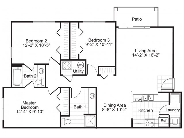 3 bedroom 2 bathroom C1 floor plan at Ardenne Apartments in Lafayette, CO located near Boulder, CO