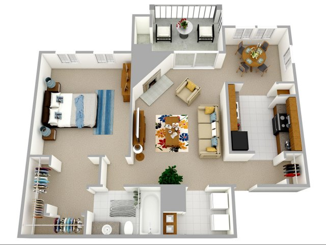 1 bedroom 1 bathroom apartment home floor plan at Reafield Village  Apartments in Charlotte  NC. 1  2  and 3 bedroom apartments in Charlotte  NC   Reafield Village