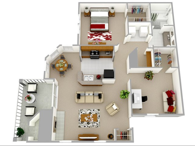 1 bedroom 1 bathroom apartment home floor plan at Reafield Village Apartments in Charlotte, NC
