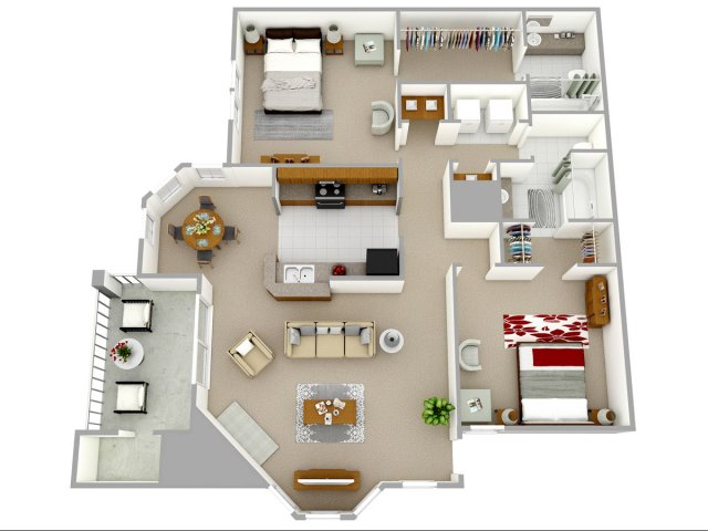 2 bedroom 2 bathroom apartment home floor plan at Reafield Village Apartments in Charlotte, NC