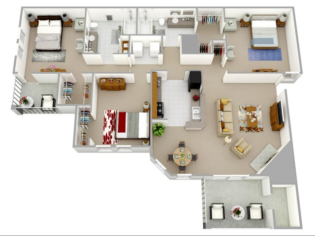 3 bedroom 2 bathroom apartment home floor plan at Reafield Village Apartments in Charlotte, NC