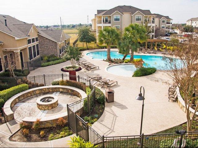 Aerial shot at Lakeland Estates Apartment Homes in Stafford, TX