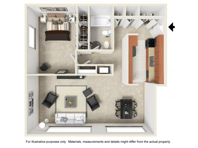 One bedroom one bathroom A1 floorplan at The Harlowe Apartments in Arlington, VA