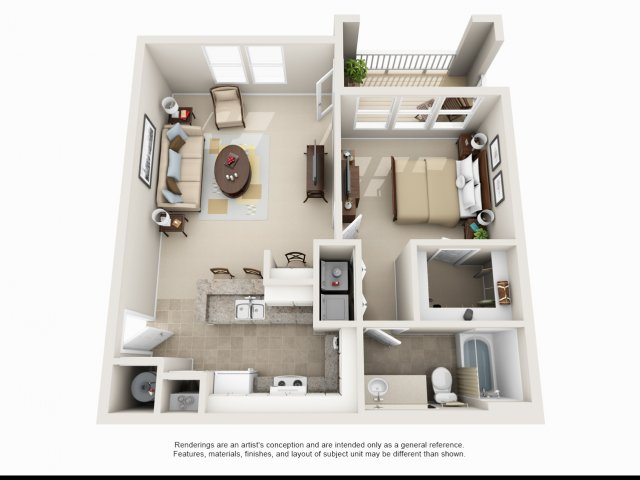 One bedroom one bathroom A1 floorplan at Arbor Walk Apartments in Tampa  FL. 1 and 2 Bedroom Apartments and Townhomes For Rent in Tampa  FL