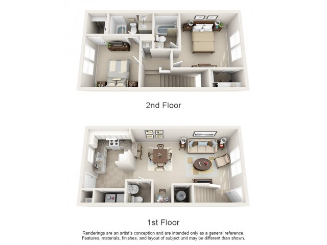 Two bedroom two and a half bathroom B2TH floorplan at Arbor Walk Apartments  in Tampa. 1 and 2 Bedroom Apartments and Townhomes For Rent in Tampa  FL