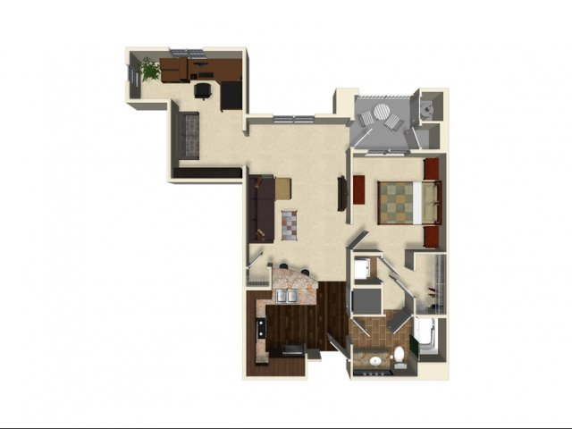 1 bedroom 1 bathroom apartment A5 floor plan at The Verdant Apartments in San Jose, CA