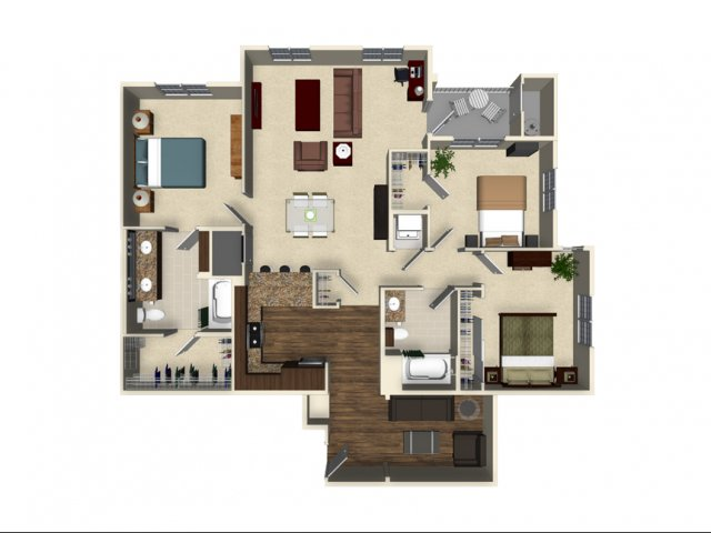 3 bedroom 2 bathroom apartment C1A floor plan at The Verdant Apartments in San Jose, CA