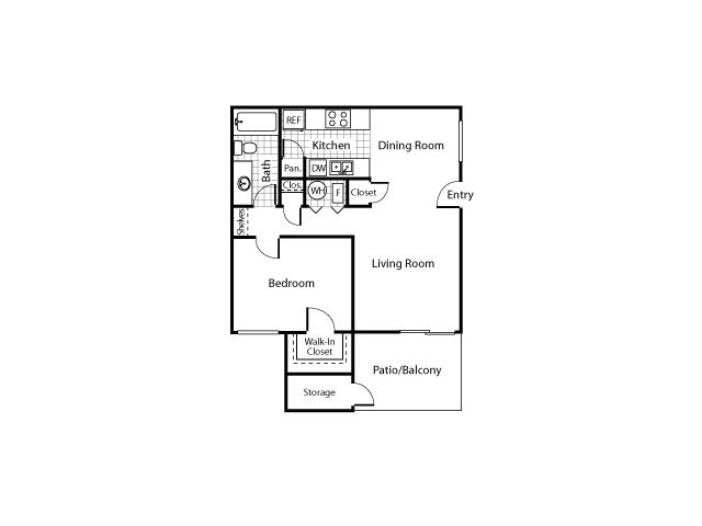 One bedroom one bathroom A1 Floorplan at Avery Park Apartments in Fairfield, CA