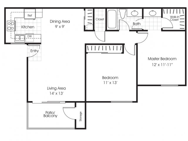 Two bedroom one bathroom B1 floor plan at Belmont Apartment Homes in Pittsburg, CA