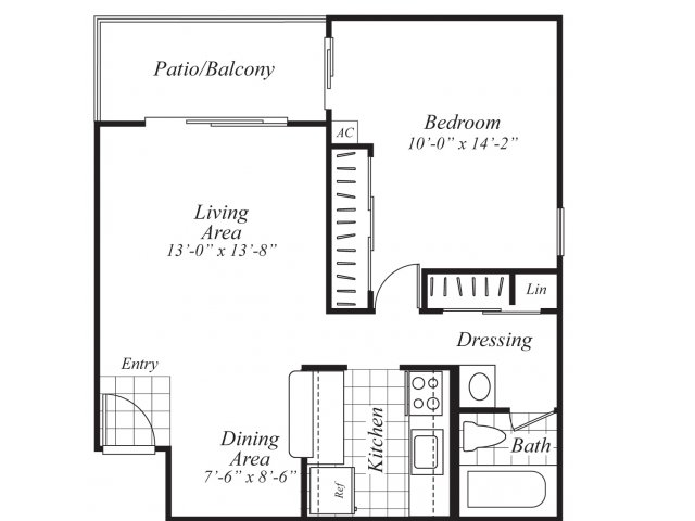 One bedroom one bathroom A3 Floorplan at Ridgemoor Apartment Homes in Lakewood, CO