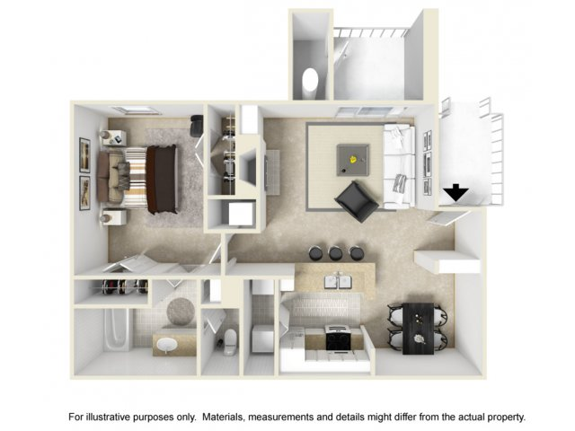 1 bedroom 1 bathroom A2 floorplan at Helix Apartments in Las Vegas, NV