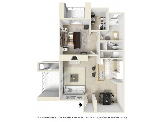 1 bedroom 1 bathroom A3 floorplan at Helix Apartments in Las Vegas, NV