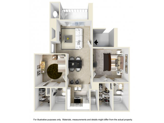 2 bedroom 2 bathroom B1 floorplan at Helix Apartments in Las Vegas, NV