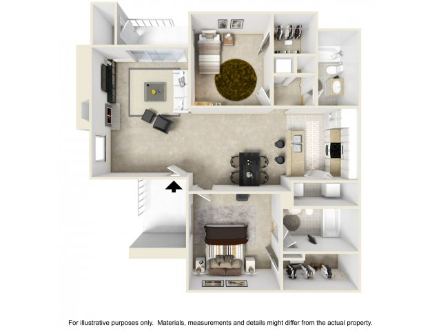 2 bedroom 2 bathroom B2 floorplan at Helix Apartments in Las Vegas, NV