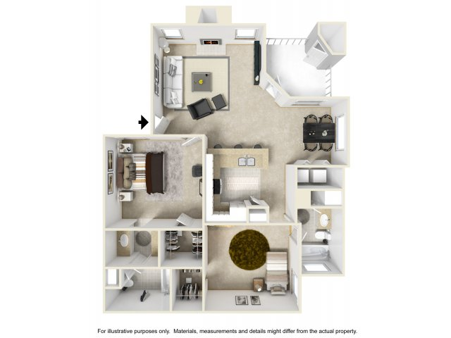 2 bedroom 2 bathroom B3 floorplan at Helix Apartments in Las Vegas, NV