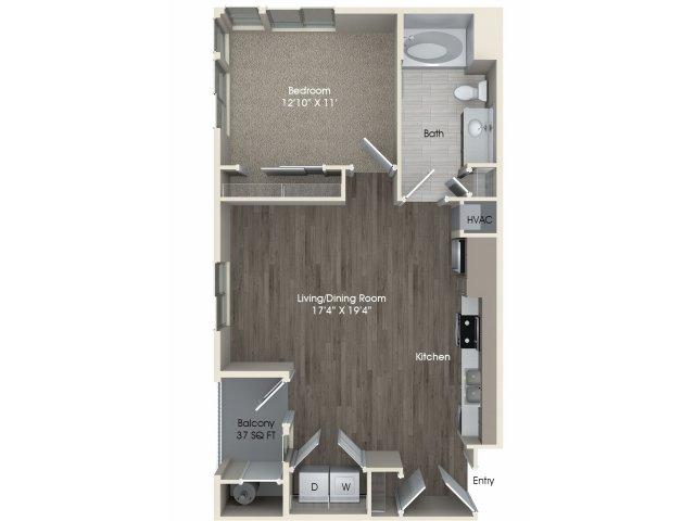 1 bedroom 1 bathroom A1 floorplan at Pulse Millenia Apartments in Chula Vista, CA