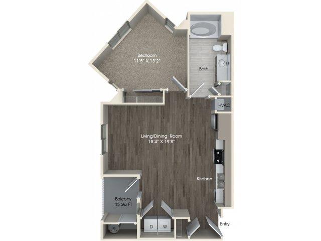 1 bedroom 1 bathroom A1A floorplan at Pulse Millenia Apartments in Chula Vista, CA