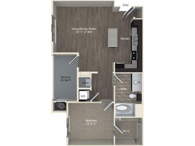 1 bedroom 1 bathroom A2 floorplan at Pulse Millenia Apartments in Chula Vista, CA