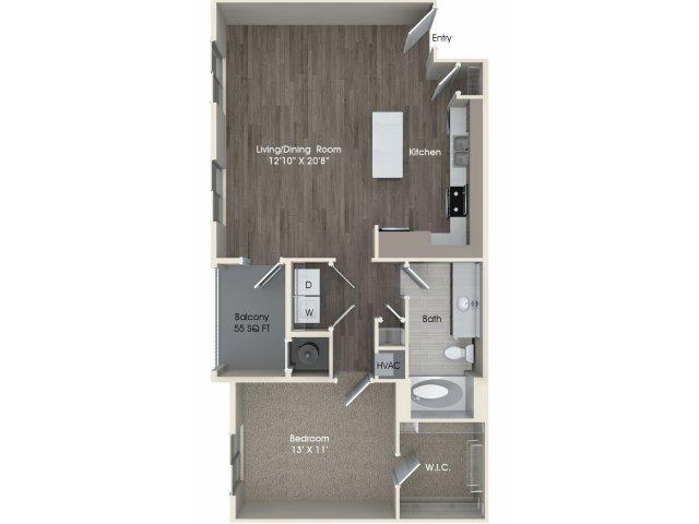 1 bedroom 1 bathroom A3 floorplan at Pulse Millenia Apartments in Chula Vista, CA