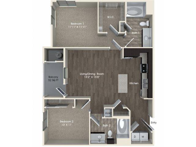 2 bedroom 2 bathroom B1 floorplan at Pulse Millenia Apartments in Chula Vista, CA
