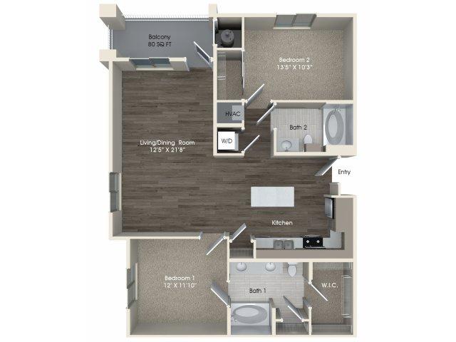 2 bedroom 2 bathroom B2 floorplan at Pulse Millenia Apartments in Chula Vista, CA