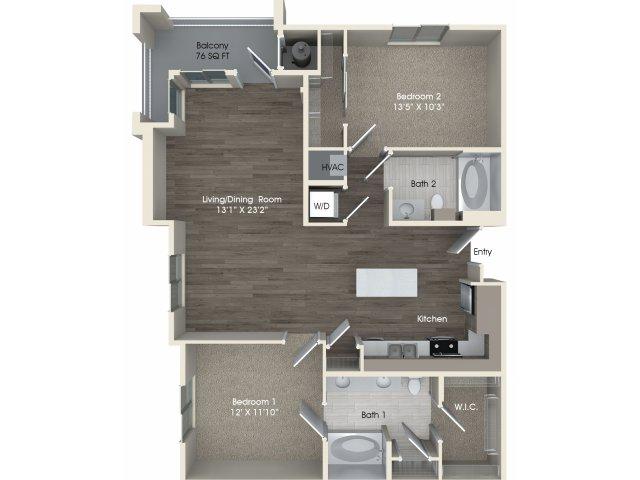 2 bedroom 2 bathroom B2A floorplan at Pulse Millenia Apartments in Chula Vista, CA
