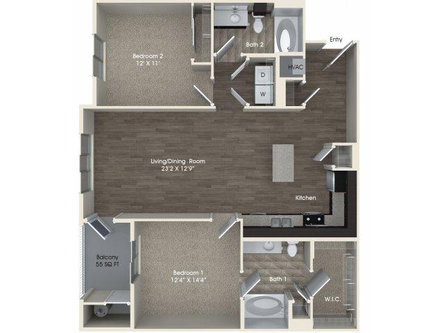 2 bedroom 2 bathroom B3 floorplan at Pulse Millenia Apartments in Chula Vista, CA