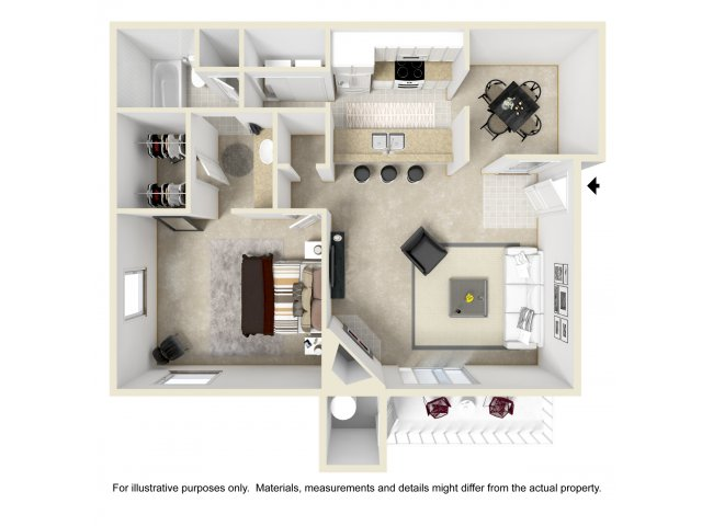 1 bedroom 1 bathroom A2 Floorplan at Array South Mountain in Phoenix, AZ
