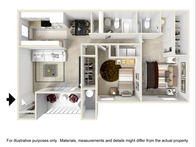 2 bedroom 2 bathroom B1 floorplan Lore South Mountain Apartments in Phoenix, AZ