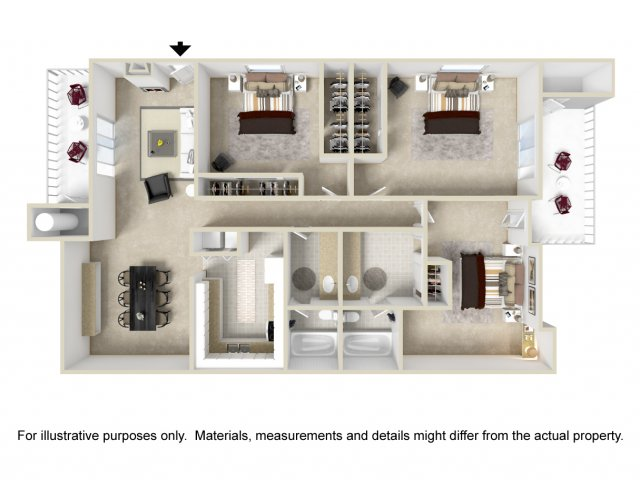 3 bedroom 2 bathroom C1 floorplan at Lore South Mountain Apartments in Phoenix, AZ