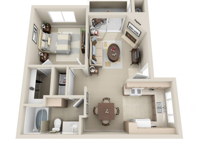 One bedroom one bathroom A2 Floorplan at Lakeview at Superstition Springs Apartments in Mesa, AZ