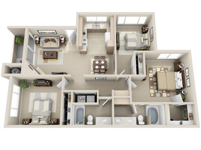Three bedroom two bathroom C2 Floorplan at Lakeview at Superstition Springs Apartments in Mesa, AZ