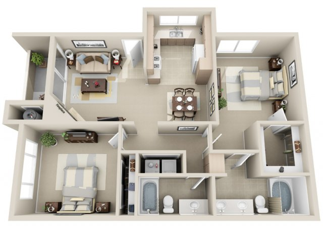 Two bedroom two bathroom B4 Floorplan at Lakeview at Superstition Springs Apartments in Mesa, AZ