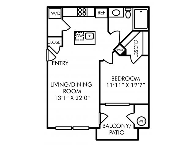 One bedroom one bathroom A1 floorplan at Westwind Farms Apartments in Ashburn, VA