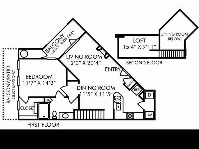 One bedroom one bathroom ADL floorplan at Westwind Farms Apartments in Ashburn, VA