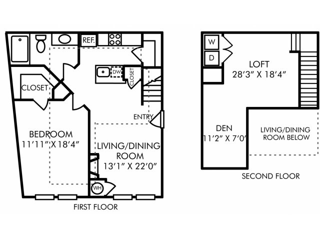 One bedroom one bathroom A10DL floorplan at Westwind Farms Apartments in Ashburn, VA