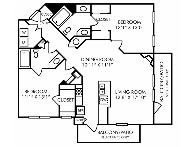 Two bedroom two bathroom B3 floorplan at Westwind Farms Apartments in Ashburn, VA