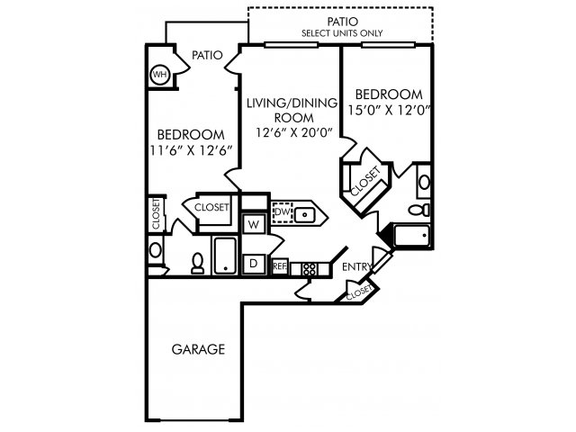 Two bedroom two bathroom B51 floorplan at Westwind Farms Apartments in Ashburn, VA