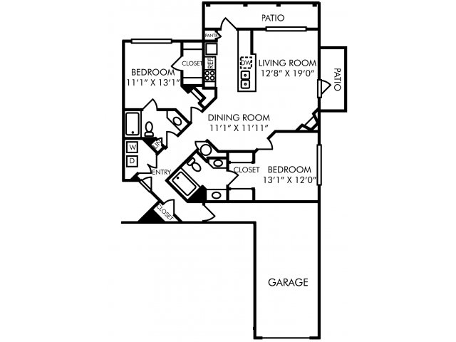 Two bedroom two bathroom B6 floorplan at Westwind Farms Apartments in Ashburn, VA