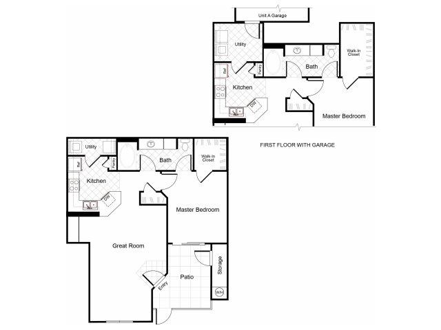 1 bedroom 1 bathroom A1 floorplan at Cambria Apartments in Gilbert , AZ