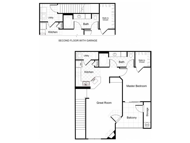 1 bedroom 1 bathroom apartment A2 floorplan at Cambria Apartments in Gilbert, AZ