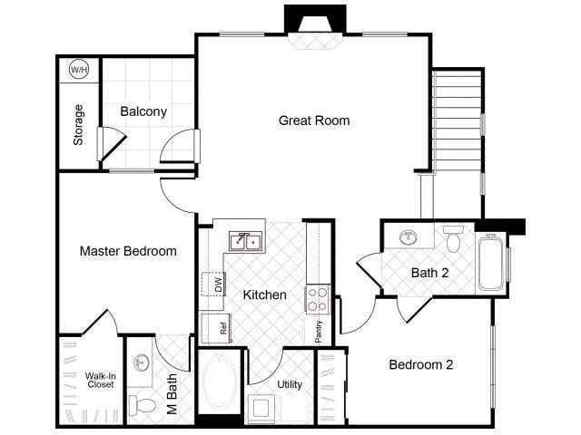 2 bedroom 2 bathroom B2 floorplan at Cambria Apartments in Gilbert, AZ