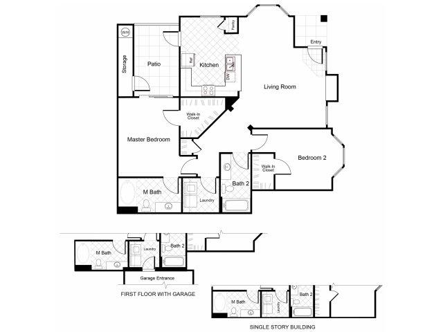 2 bedroom 2 bathroom B4 floorplan at Cambria Apartments in Gilbert, AZ