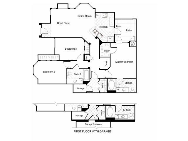 3 bedroom 2 bathroom C1 floorplan at Cambria Apartments in Gilbert, AZ
