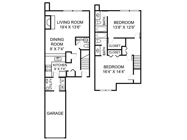 Two bedroom two and a half bathroom B2TH Floorplan at Kensington Grove Apartment Homes in Westerville, OH