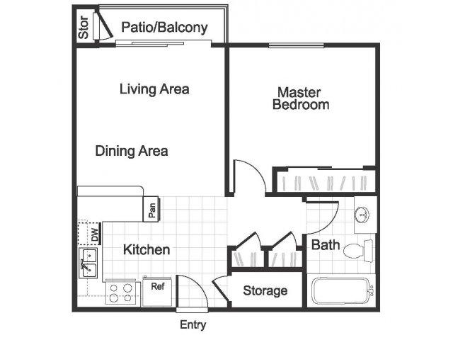 1Bedroom 1 Bathroom A1 floorplan at Hidden Creek Apartments Martinez, CA