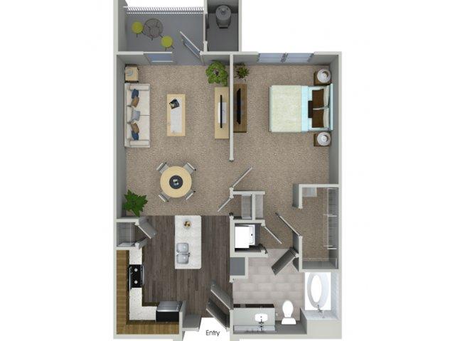 A1 1 bedroom 1 bathroom floorplan at Talia Apartments in Marlborough, MA