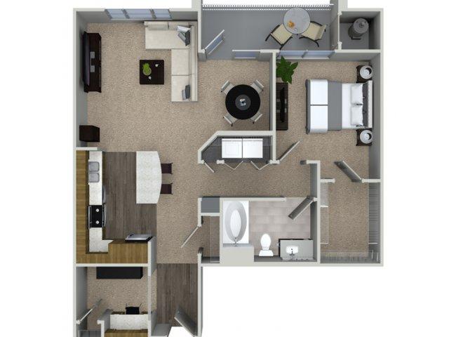 A3A 1 bedroom 1 bathroom floorplan at Talia Apartments in Marlborough, MA