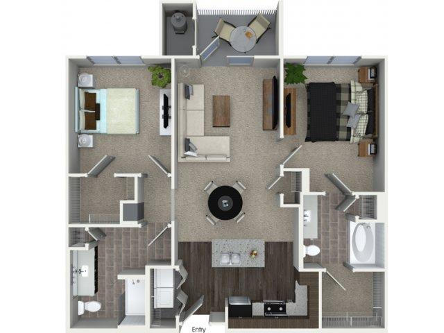 B1 2 bedroom 2 bathroom floorplan at Talia Apartments in Marlborough, MA